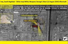 أقمار صناعية إسرائيلية تنشر صورة لمعسكر صقر ببغداد بعد انفجار مخزن للعتاد فيه